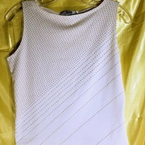 Tops - Pur White sleeveless boatneck embellished tank top
